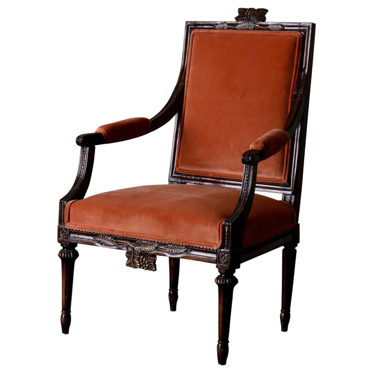 Armchair Swedish Gustavian Dark Apricot Velvet, Sweden For Sale
