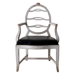 Armchair Swedish Gustavian White Black Sweden