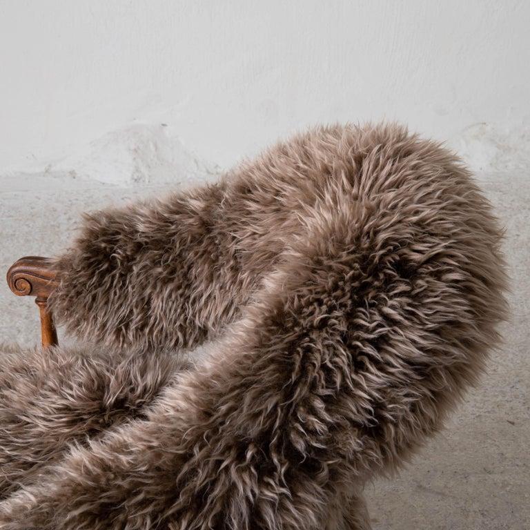 Armchair Swedish Late 19th Century Fur Beige Brown, Sweden 6