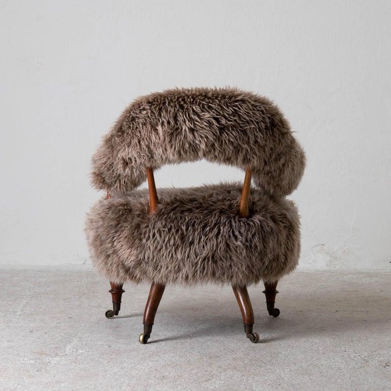 Armchair Swedish Late 19th Century Fur Beige Brown, Sweden 7