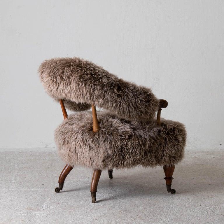 Armchair Swedish Late 19th Century Fur Beige Brown, Sweden 8