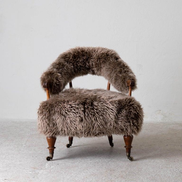 Rustic Armchair Swedish Late 19th Century Fur Beige Brown, Sweden