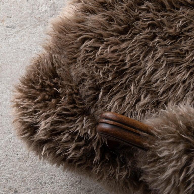 Armchair Swedish Late 19th Century Fur Beige Brown, Sweden 1