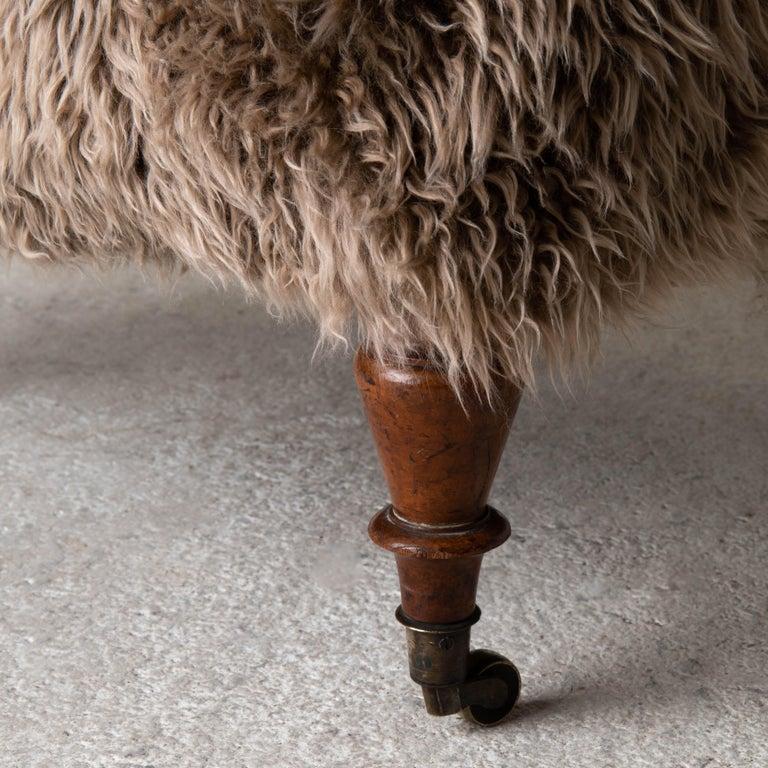 Armchair Swedish Late 19th Century Fur Beige Brown, Sweden 2