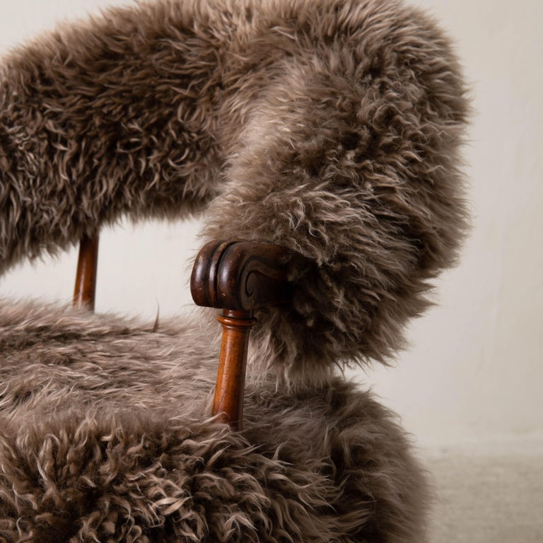 Armchair Swedish Late 19th Century Fur Beige Brown, Sweden 3