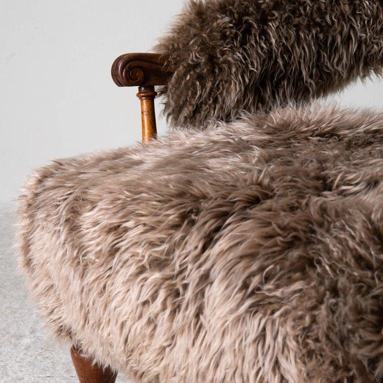 Armchair Swedish Late 19th Century Fur Beige Brown, Sweden 4