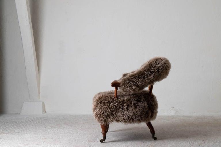 Armchair Swedish Late 19th Century Fur Beige Brown, Sweden 5