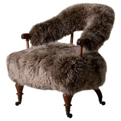 Armchair Swedish Late 19th Century Fur Beige Brown, Sweden