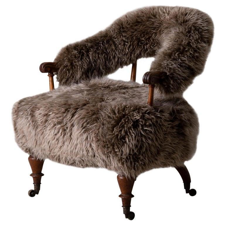 Armchair Swedish Late 19th Century Fur Beige Brown, Sweden