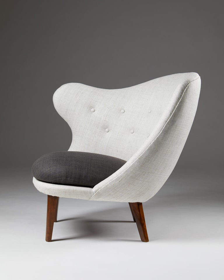 Wool upholstery and birch legs  Measures: H 78 cm/ 2' 7 1/4