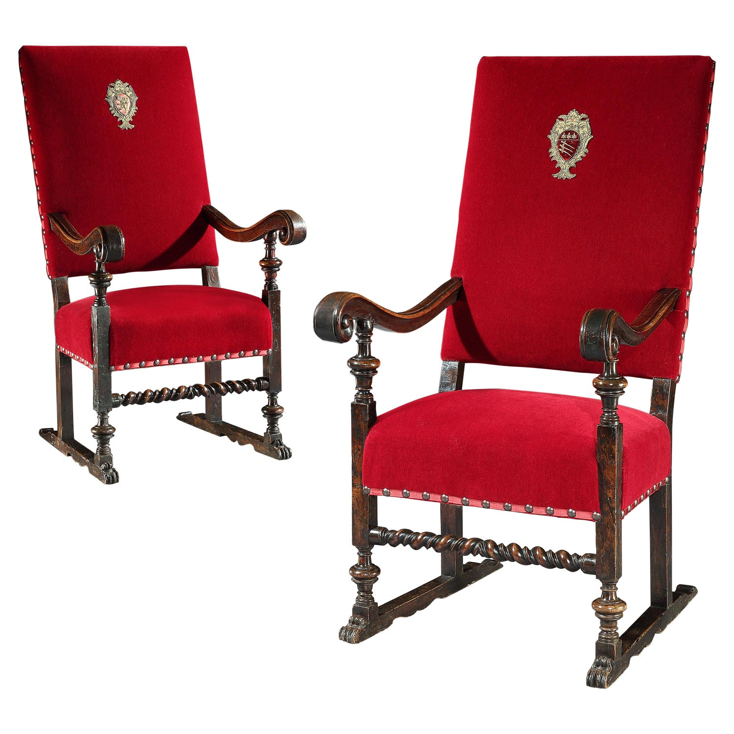 Armchair Throne Pair Italian Walnut Red Mohair Velvet Armorial Renaissance