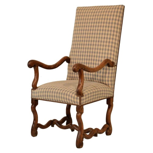 Armchair, Upholstered, Os-De Mouton, Walnut, French, 17th Century