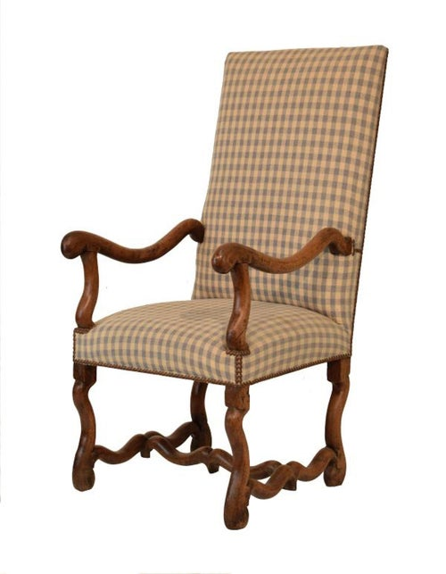 Armchair, upholstered, os-de mouton, walnut, French, 17th century,