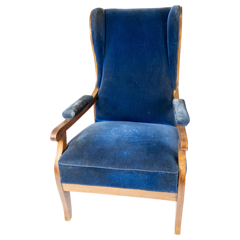 Armchair Upholstered with Blue Velvet and Mahogany Designed by Fritz Henningsen