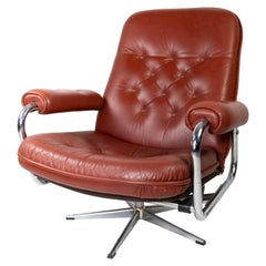 Armchair Upholstered with Red Leather and Frame of Metal, of Danish Design, 1960