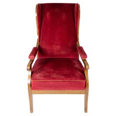 Armchair Upholstered with Red Velvet and Mahogany Designed by Frits Henningsen