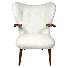 Armchair Upholstered with Sheep Skin of Danish Design, 1960s