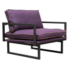 GHYCZY Armchair Brad GP01, Stainless Steel Matt, Purble/Blue Merged Fabric