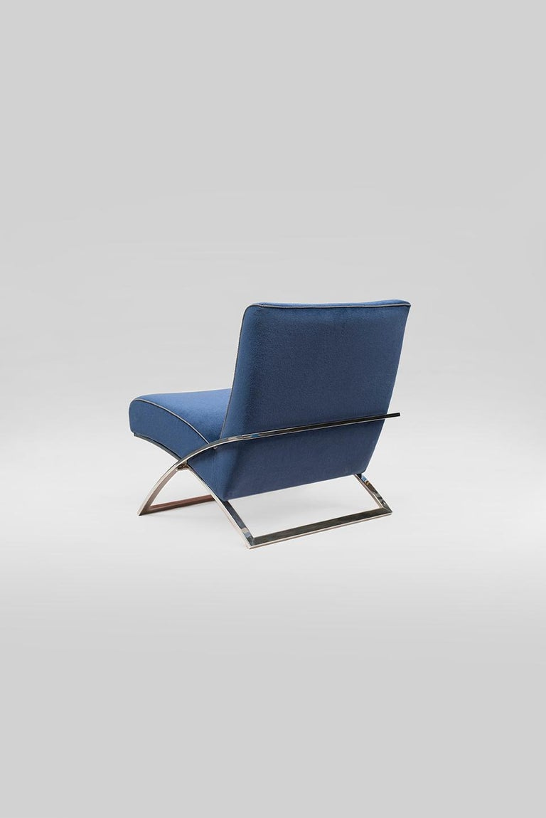Dutch 21th Century Bauhaus Mid Century Modern Stainless Steel Polished Blue Arm Chair For Sale