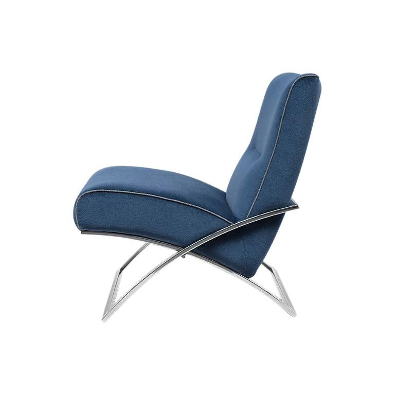 21th Century Bauhaus Mid Century Modern Stainless Steel Polished Blue Arm Chair For Sale