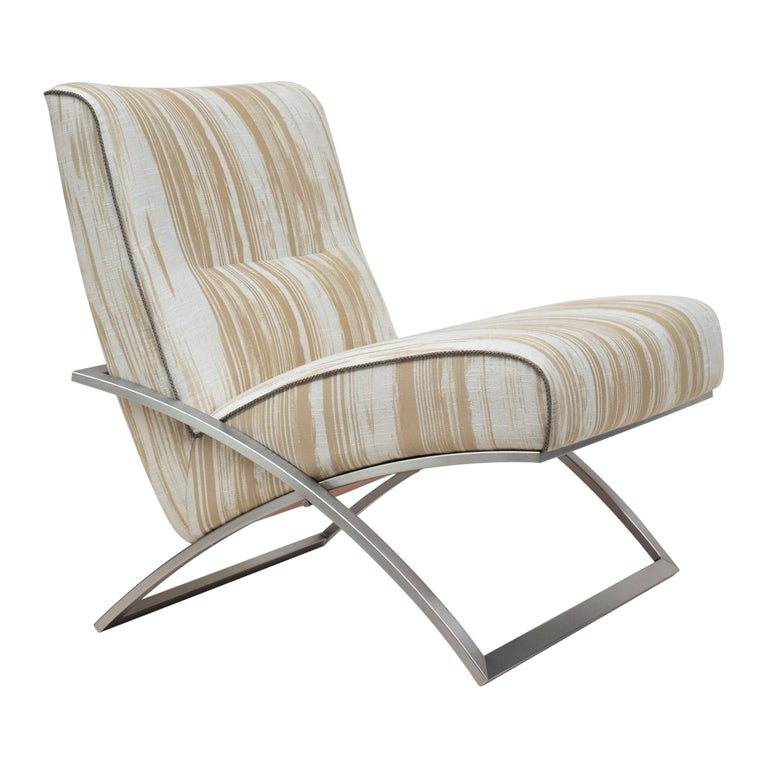 GHYCZY Armchair Wave GP03 Stainless Steel Matt, Natural Classics Style For Sale