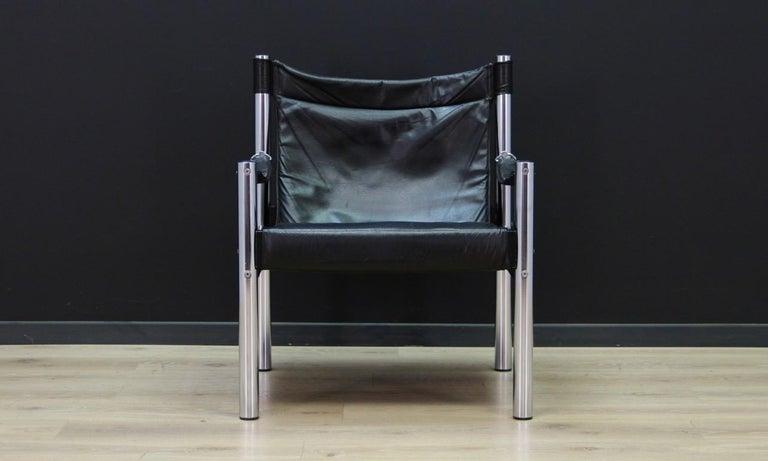 Armchair Vintage Scandinavian Design Leather For Sale 4