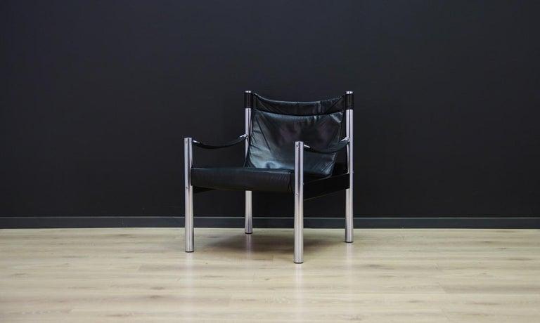Mid-Century Modern Armchair Vintage Scandinavian Design Leather For Sale