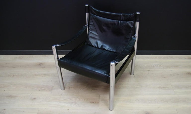 Other Armchair Vintage Scandinavian Design Leather For Sale