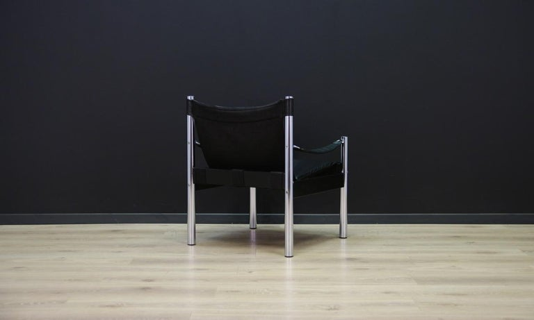 Late 20th Century Armchair Vintage Scandinavian Design Leather For Sale