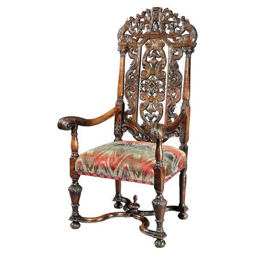 Armchair, Walnut, Carved, Upholstered, Daniel Marot, Flemish, 17 Century Baroque