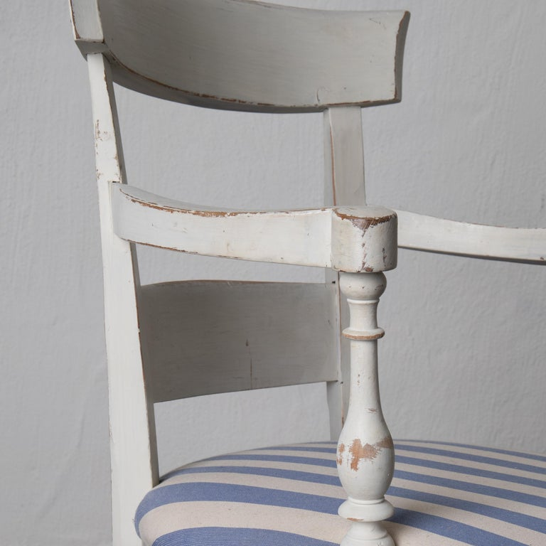 Armchair White French 19th Century Blue and White Upholstery, France For Sale 4