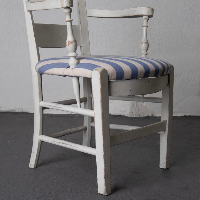 Armchair White French 19th Century Blue and White Upholstery, France For Sale 5