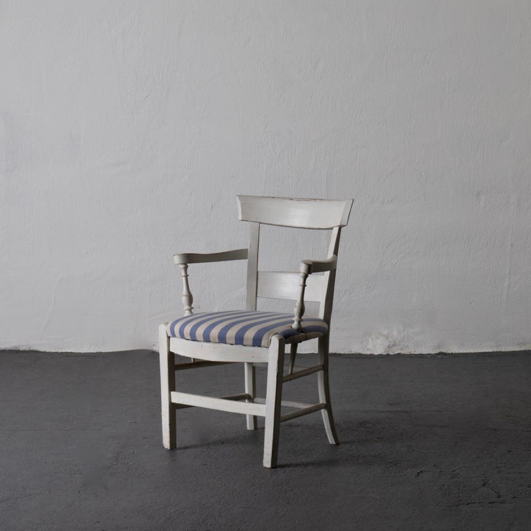 Folk Art Armchair White French 19th Century Blue and White Upholstery, France For Sale