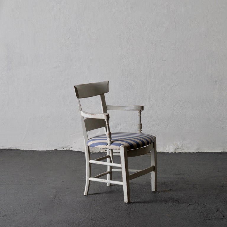 Hand-Painted Armchair White French 19th Century Blue and White Upholstery, France For Sale