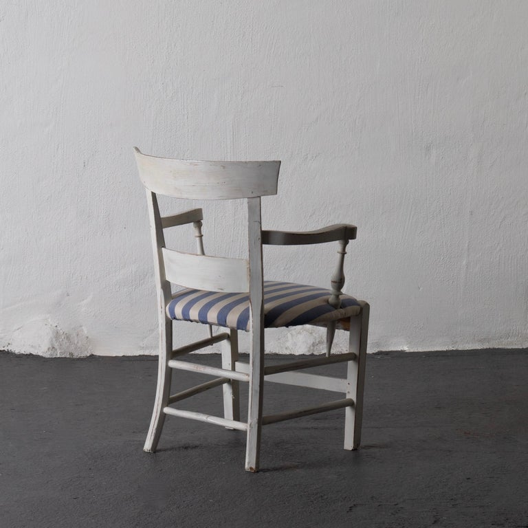 Wood Armchair White French 19th Century Blue and White Upholstery, France For Sale