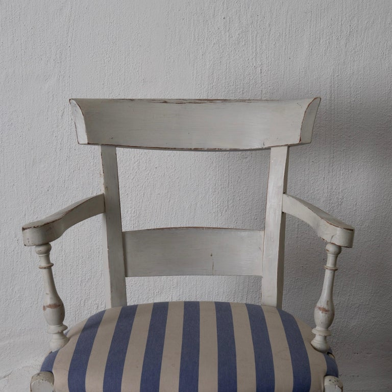 Armchair White French 19th Century Blue and White Upholstery, France For Sale 1