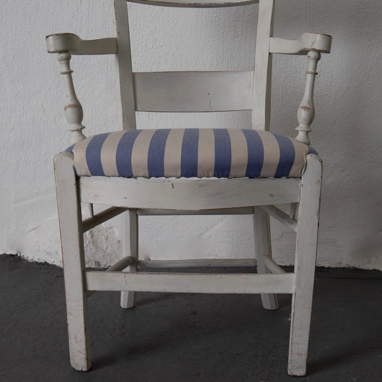 Armchair White French 19th Century Blue and White Upholstery, France For Sale 2