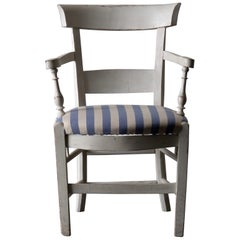 Armchair White French 19th Century Blue and White Upholstery, France