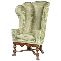 Armchair Wing Upholstered Sage Silk Vivien Leigh Laurence Oliver Notley Abbey