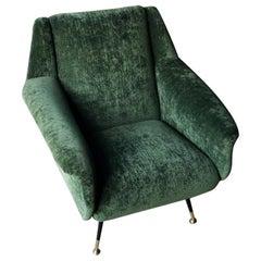 Armchair with Important Fabric Dedar, 1955, Italy