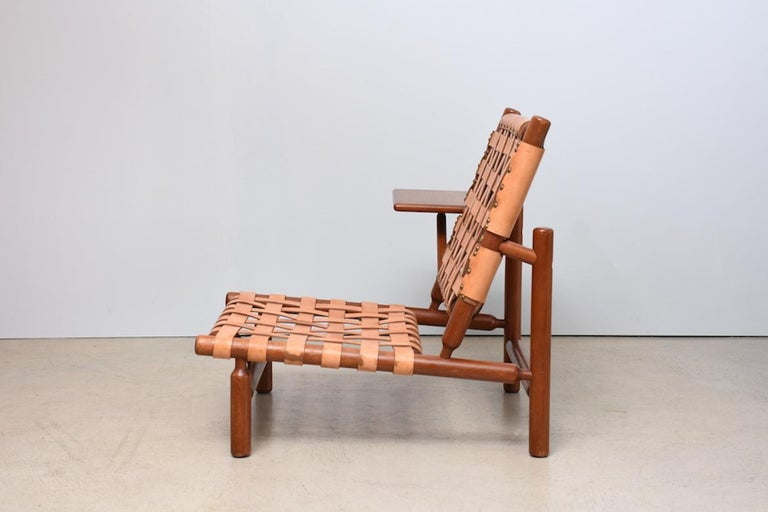 Mid-Century Modern Armchair with Ottoman by Ilmari Tapiovaara  Italy 1950s, leather stripes For Sale