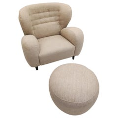Armchair with Ottoman in Beige Fabric