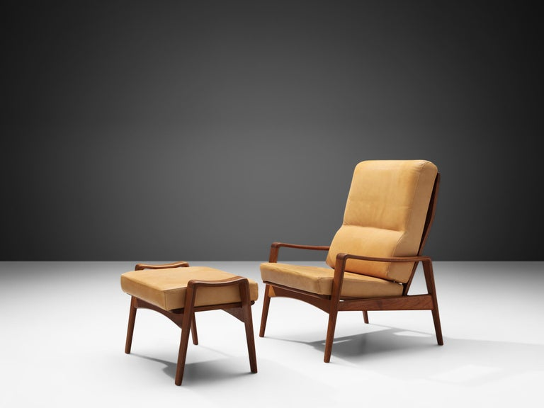 Mid-Century Modern Arne Wahl Iversen Armchair with Ottoman For Sale