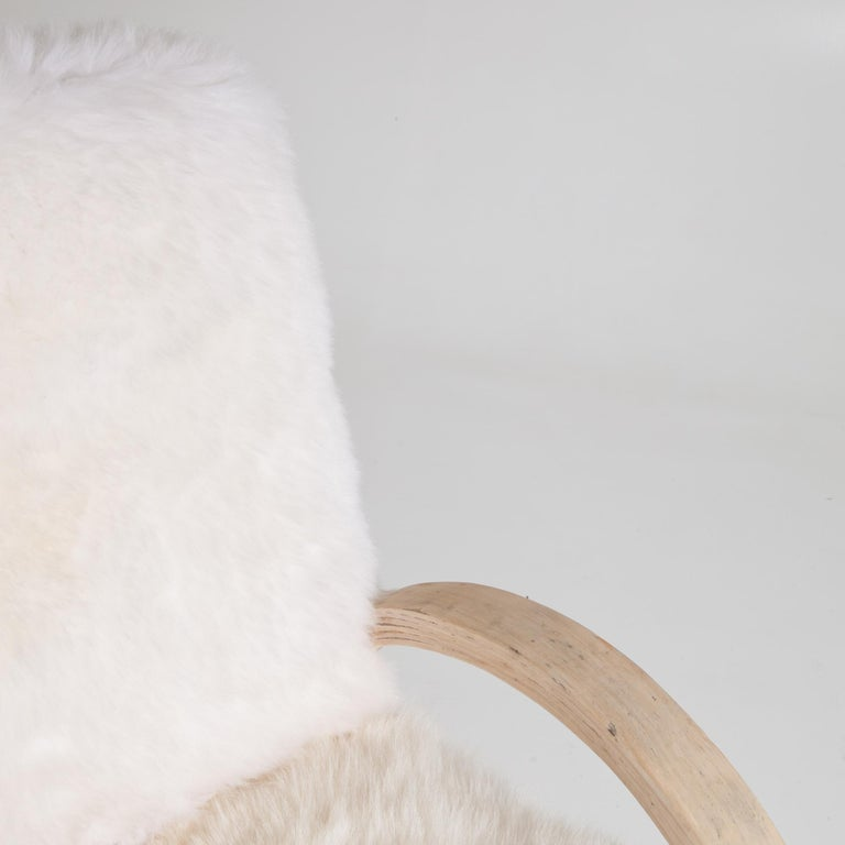 Mid-Century Modern Armchair with Sheepskin, Mid-20th Century For Sale