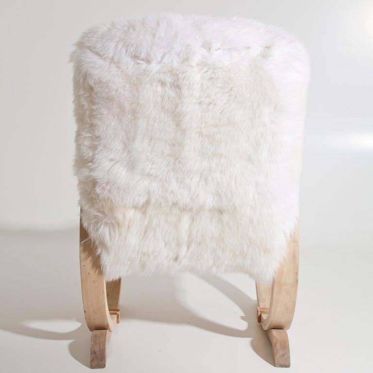 European Armchair with Sheepskin, Mid-20th Century For Sale