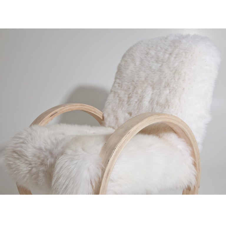Armchair with Sheepskin, Mid-20th Century In Good Condition For Sale In Greding, DE