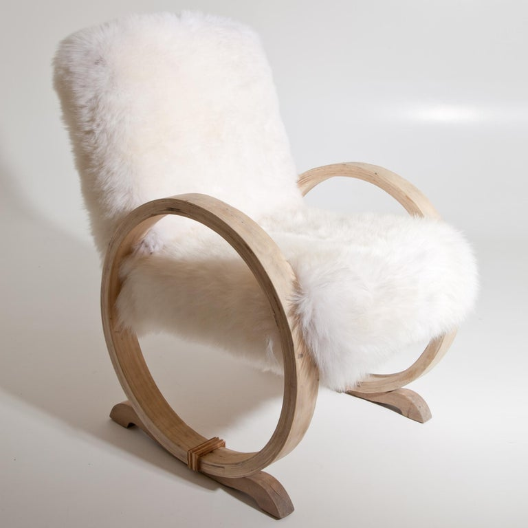 Armchair with Sheepskin, Mid-20th Century For Sale 2