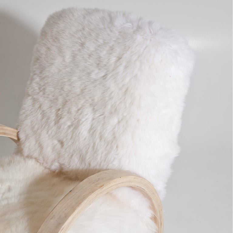Armchair with Sheepskin, Mid-20th Century For Sale 3