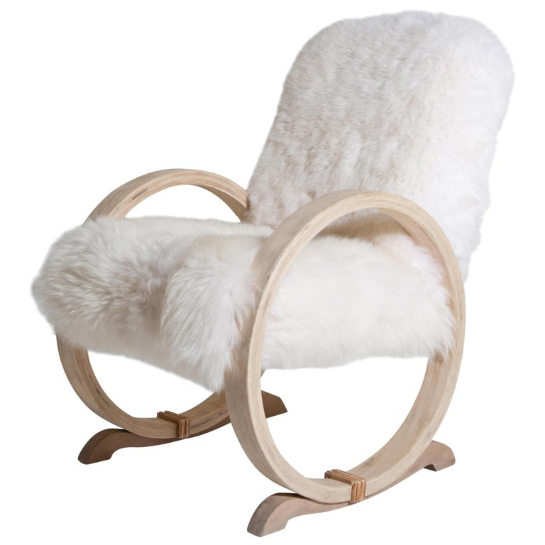 Armchair with Sheepskin, Mid-20th Century For Sale