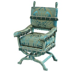 Armchair, X-Frame, 19th Century, English Jacobean-Style, Upholstered in a Green